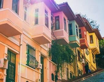 Photographie Fine Art d'un quartier coloré d'Istanbul en Turquie - Toile Photo d'Istanbul - Turquie