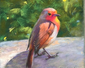 Original Painting of Robin with Foliage Nature