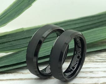 6mm Black Cobalt Rings, His and Her Ring Set, Custom Date Rings, Couples Ring Set, Couples Names Rings, Matching Couple Ring, Fiance Ring