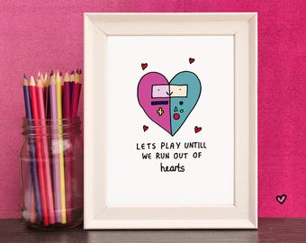 BMO Love Heart - Free UK Delivery - Finn And Princess Bubblegum - A4 And A5 Print By Holly Mac Draws