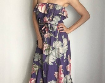 Vintage Hawaiian Strapless Faded Floral Dress XS/S