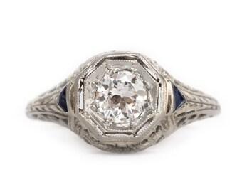 Circa 1920 Art Deco 18K White Gold .36ct Diamond & .10cttw Sapphire Engagement Ring - VEG#955