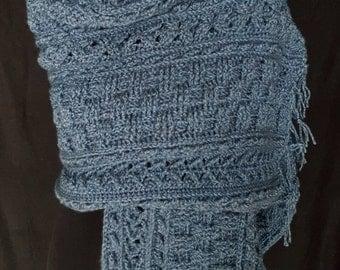 Handmade Blue Heather Wrap
