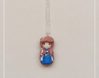 Anna Frozen Disney Princess Mini Fimo Dolls Chibi Kawaii Necklace-The snow queen Ice Kingdom 925 Silver Handmade Polymer Clay