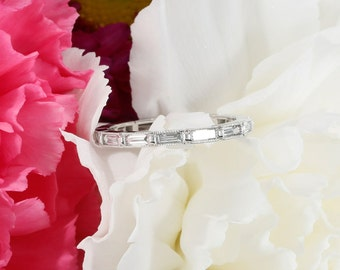 Eternity Bezel Set Baguette Diamond Wedding Band with Milgrain in 14K White Gold, Wedding Ring  (avail. yellow, rose gold and platinum)