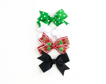 Christmas Hair Bow for Girls Babies Toddlers | Xmas Bow | Bows on Clips or Headbands | Toddler Bow | Baby Bow | Bows for Girls | Holiday Bow