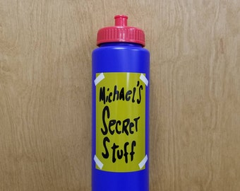Michael's Secret Stuff Water Bottle Halloween Costume Prop Movie Tune Squad Toon Squeeze Squirt Basketball Mike's Michael Jordan Gift Idea