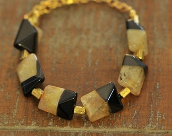 Agate Quartz bracelet with gold and black accents on adjustable, 9inch chain