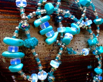Long Turquoise Necklace with opalite, crystal, glass, metal beaded, 48inch necklace