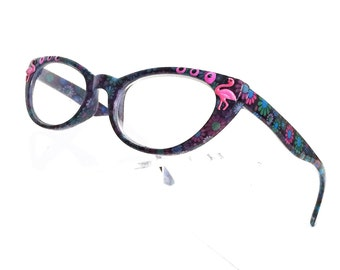 Cat eye eyeglasses, Painted readers Pink Flamingo, Women's Readers
