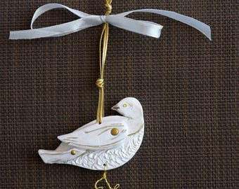 Dove Ornament, Primitive White and Gold Dove Christmas Peace Ornament, Clay and Wire Bird, Greeting Card or Wine Bottle Gift Topper Add On