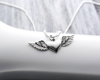 Heart with Wings Necklace, Winged Heart, Sterling Silver, Heart Wings, Sterling Silver Heart Necklace, Flying Heart, Silver Wing Necklace