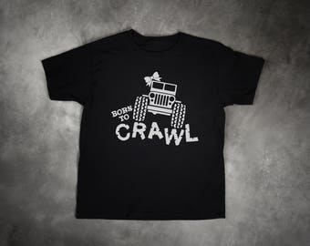 Born to Crawl Girl Jeep With Bow 4x4 Off Road Adventure Mudding 2T 3T 4T Shirt Black Toddler T Shirt Top Tee Clothes