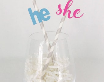 12 Gender Reveal Party Straws - He - She - New Baby - Baby Shower - Pink - Blue - Boots or Bows - Touchdowns or Tutus - Boy - Girl