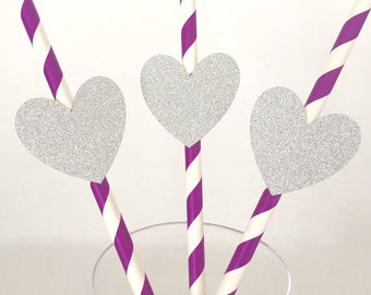 12 Glitter Heart Party Straws - Valentine's Day - Birthday Party - Wedding - Happy Hour - Girl - Baby Shower - Bridal Shower