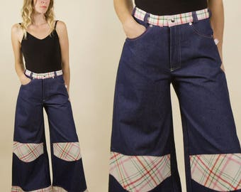 Vintage 1990s Wide Leg, Dark Denim, Patchwork Elephant Bells // 90s Wideleg Jeans