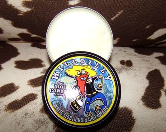 HILLBILLY WHITE LIGHTNING Organic Hair Pomade by Dixie Cowboy 4oz Strong Hold Matte Finish Firm Moonshine Redneck Rockabilly Greaser Grease