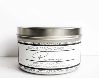 Peony Natural Soy Candle 8 oz | Eco-Friendly Candle | Soy Candles | Peony Scented Candle | Spring Candles | Gift Idea | Floral Scented