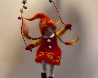 Needle felted doll, Waldorf inspired, Christmas doll, Christmas ornament, children room, Art doll, Felted fairy, nursery, wool doll