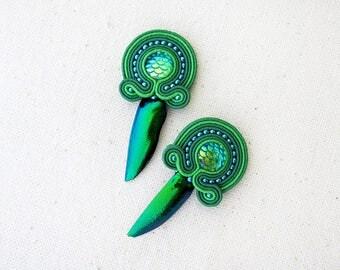 Green earrings Beetle jewellery Mermaid earrings Soutache Bohemian gift Gypsy earrings Biology gift Beetle earrings Birthday gift for sister