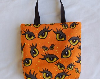 Halloween Fabric Gift Bag/ Party Favor Bag/ Halloween Goody Bag- Spooky Eyes on Orange