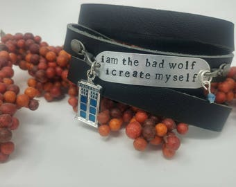 Doctor Who/Rose Tyler/Bad Wolf Hand Stamped Black Leather Wrap Bracelet/TARDIS Bracelet/Whovian Jewelry/Cosplay Jewelry