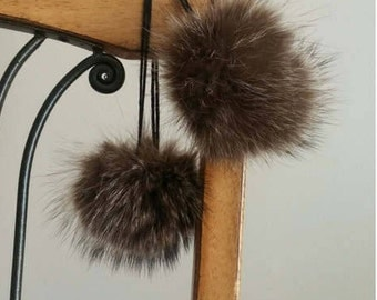 Pack of 2/recycled fur Pompom