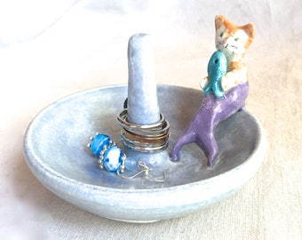 Kitty Cat Mermaid Ring Tree, ceramic ring cone jewelry storage blue mer cat fish bracelet storage under sea nautical pottery handmade dish
