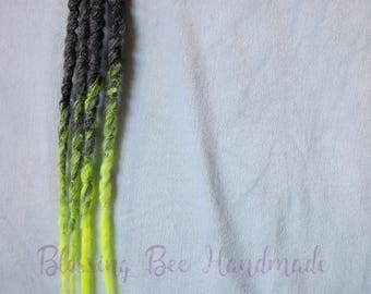 Synthetic dreads, UV reactive single ended dreads, dread accent kit, hair extensions, grey fantasy hair, festival wear, neon yellow dreads
