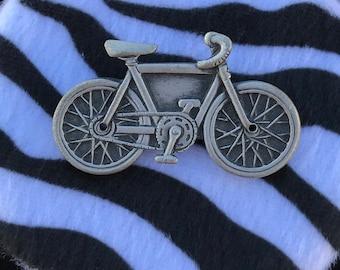 Vintage Bicycle Brooch // JJ Brooch // Vintage Jonette Jewelry // Pewter Bicycle Brooch // 90s Bike Brooch // Bike Jewelry