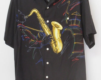 """Play Those B-l-u-e-s in your Tori Richard """"Sax"""" Shirt, Great for Jazz !!                        Size M"""