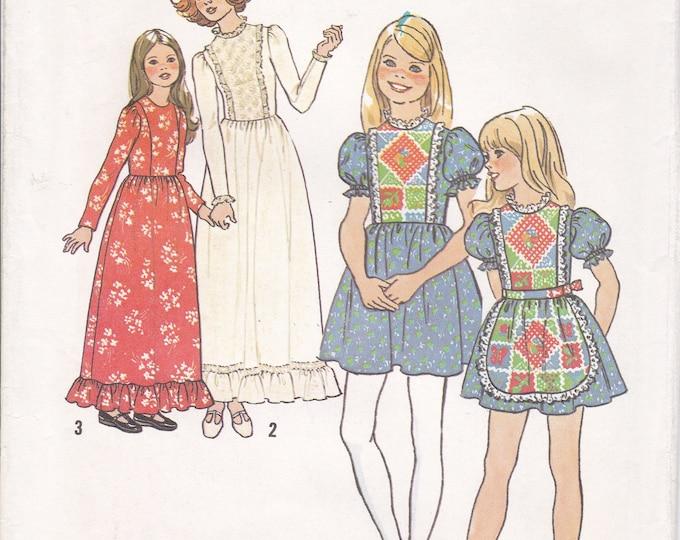 FREE US SHIP Simplicity 7242 Girls Apron Mini Maxi Dress Uncut Size 6,10,12 14  Vintage Retro 1970s 70s Sewing Pattern Factory Folded