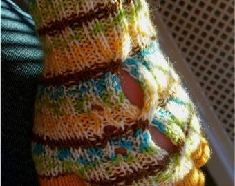 Hand Knitted Half finger gloves, wool fingerless gloves, women's gloves, knitted in Australia