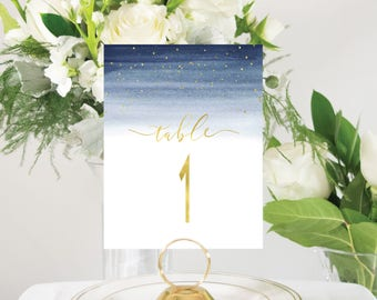 Navy and Gold Foil Table Numbers Evening Under the Stars Watercolor Handmade Wedding Style #0146