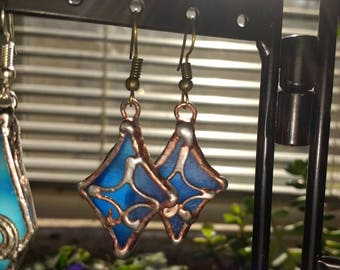 Glass and copper earring