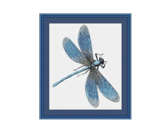 Blue Dragonfly Counted Cross Stitch Pattern / Chart, Instant Digital Download  (AP062)