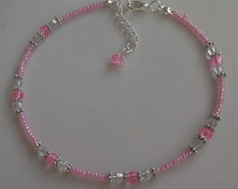 Pink anklet, pink beaded anklet, beach anklet, beach jewellery, seed bead anklet, boho anklet, crystal anklet, boho jewellery, gift for her