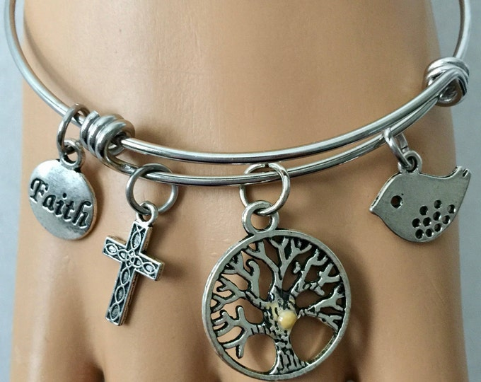 Christian bangle bracelet on stainless steel bracelet with silver charms, cross, faith tag, bird, tree of life with real mustard seed