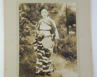 Japanese old photo, Yukata ( summer kimono) cloth Ad/catalog, ref7