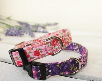 Dog Collar Floral Pink and Purple Haze