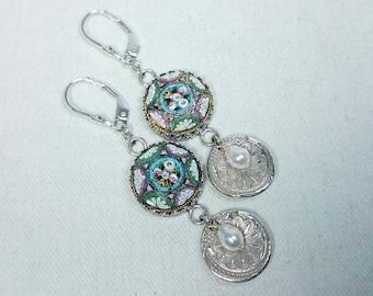 Micro Mosaic Earrings, Silver, Genuine Fresh Water Pearls, Grand Tour, Italian Souvenir Jewelry
