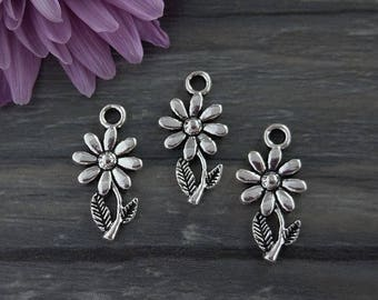 Daisy Charms, Flower Charms, 5/10/20pcs, Antique Silver, Bulk Charms, Floral Charms, CH379