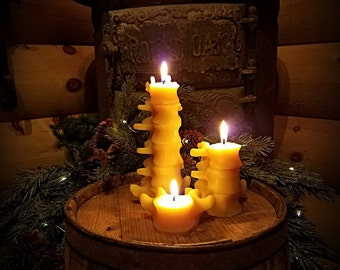 Beeswax Human Spine Candles, (Smaller Set of 3) (Gift Set)