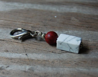 Gemstone Key Charm Howlite with Red Dyed Wooden Bead