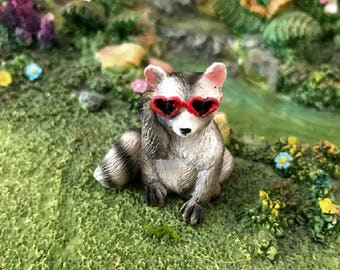 Miniature Raccoon with Heart Sunglasses