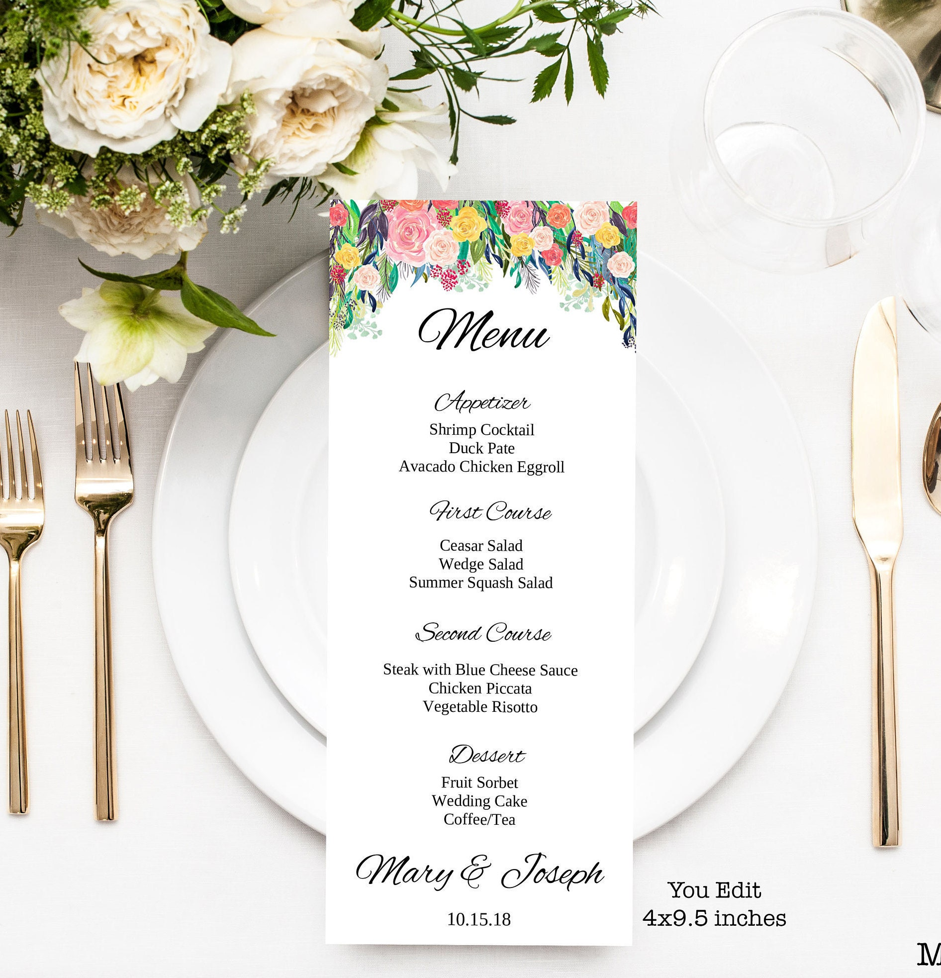wedding menu wedding menu template you edit floral menu floral menu template