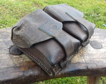 Vintage JNA army leather Mauser ammo double belt pouch military ammunitio-60's