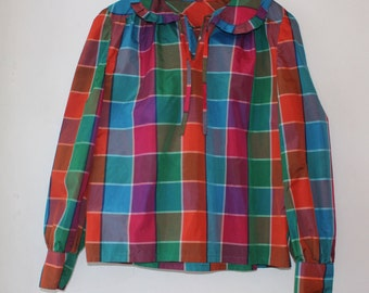 1980s colorful checked peter pan collar blouse