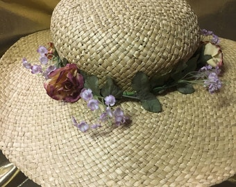 1990's Straw with Flowers Hat Made by Importina of Italy