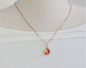 Raw Sunstone Necklace Rose Gold Filled, Gold Filled, Silver, Rough Sunstone, Raw Crystal Necklace, Rough Crystal Jewelry, Winter Gift Wife